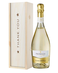 Prosecco Thank You Gift In Wooden Box