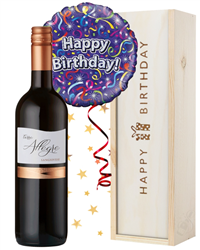 Red Wine and Balloon Birthday Gift