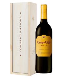 Rioja Tempranillo Red Wine Congratulations Gift In Wooden Box
