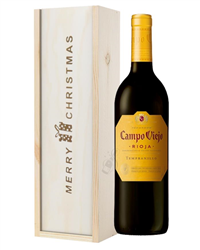 Rioja Tempranillo Red Wine Single Bottle Christmas Gift In Wooden Box