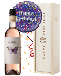 Rosé Wine and Balloon Birthday Gift