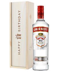 Smirnoff Red Label Vodka Birthday Gift In Wooden Box