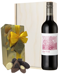 South African Red Wine and Chocolates Gift Set in Wooden Box