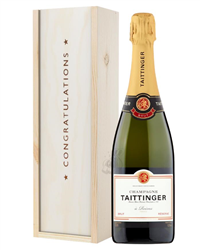 Taittinger Brut Champagne Congratulations Gift In Wooden Box
