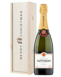 Taittinger Brut Champagne Single Bottle Christmas Gift In Wooden Box