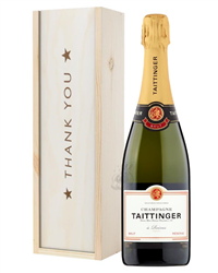 Taittinger Brut Champagne Thank You Gift In Wooden Box