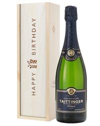 Taittinger Prelude Champagne Birthday Gift In Wooden Box