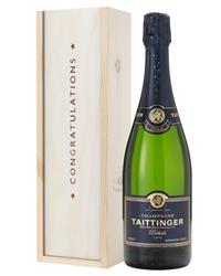 Taittinger Prelude Champagne Congratulations Gift In Wooden Box