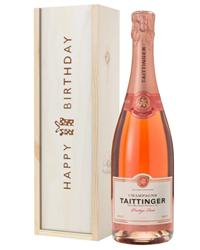 Taittinger Rose Champagne Birthday Gift In Wooden Box