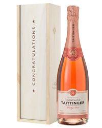 Taittinger Rose Champagne Congratulations Gift In Wooden Box
