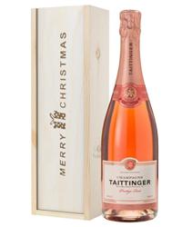 Taittinger Rose Champagne Single Bottle Christmas Gift In Wooden Box