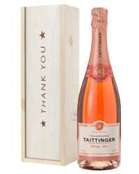 Taittinger Rose Champagne Thank You Gift In Wooden Box