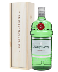 Tanqueray London Dry Gin Congratulations Gift In Wooden Box