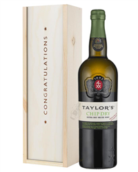 Taylors Chip Dry White Port Congratulations Gift In Wooden Box