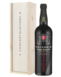 Taylors First Reserve Port Congratulations Gift In Wooden Box