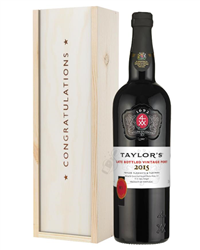 Taylors Late Bottled Vintage Port Congratulations Gift In Wooden Box