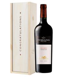 Terrazas Reserva Malbec Red Wine Congratulations Gift In Wooden Box