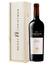Terrazas Reserva Malbec Red Wine Single Bottle Christmas Gift In Wooden Box