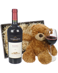Terrazas Reserva Malbec Wine And Teddy Bear Gift Basket