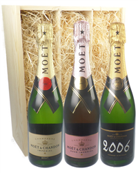 The Moet Collection Three Bottle Champagne Gift in Wooden Box