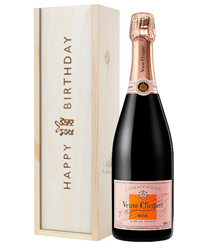 Veuve Clicquot Rose Champagne Birthday Gift In Wooden Box