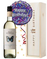 White Wine and Balloon Birthday Gift
