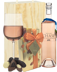 Williams Chase Rose Wine and Chocolates Gift Set in Wooden Box