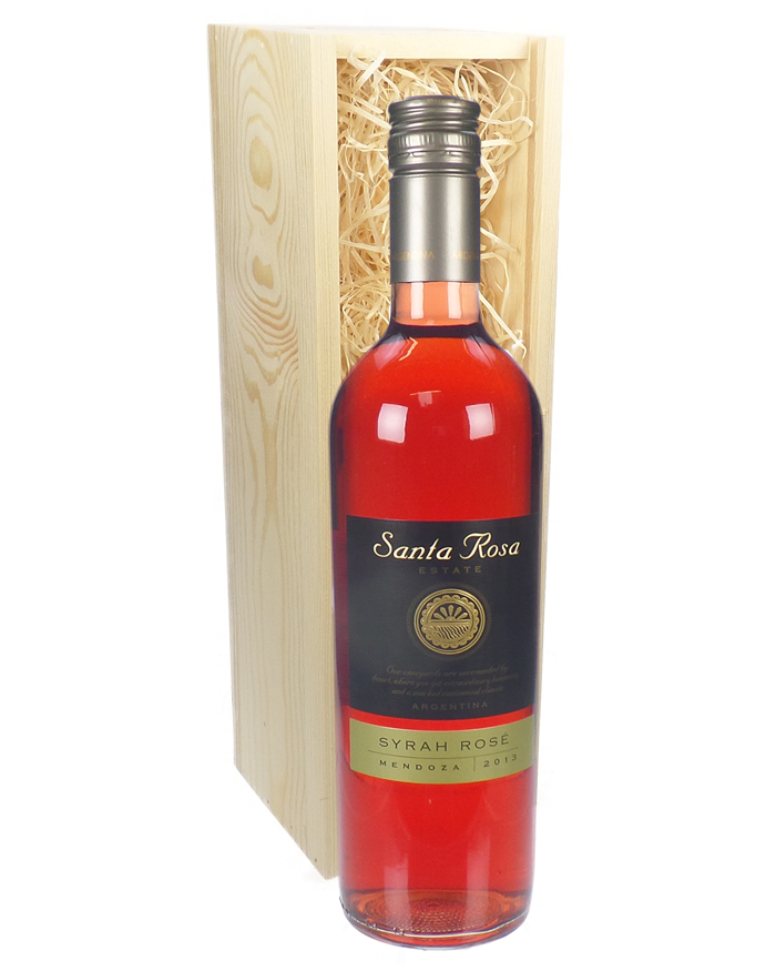 Argentinian Rose Wine Gift in Wooden Box