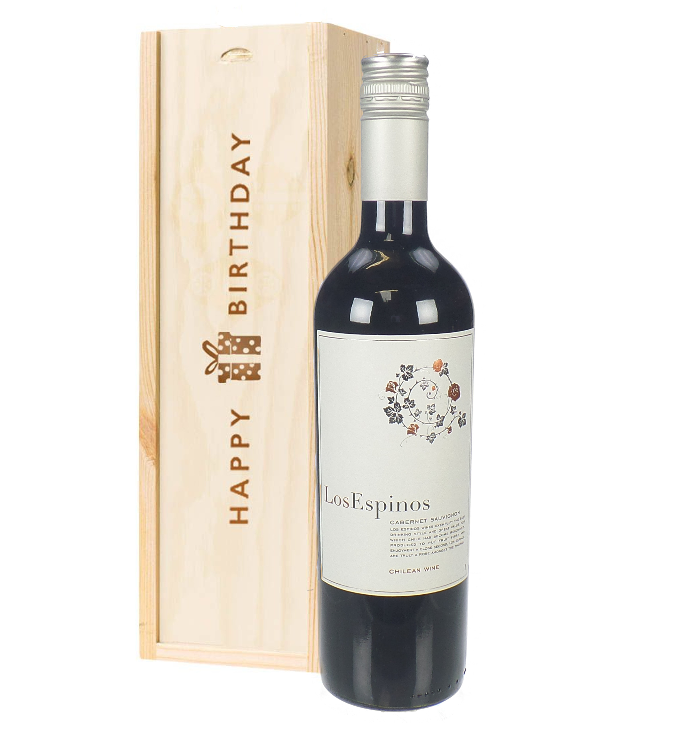 Cabernet Sauvignon Chilean Red Wine Birthday Gift In Wooden Box