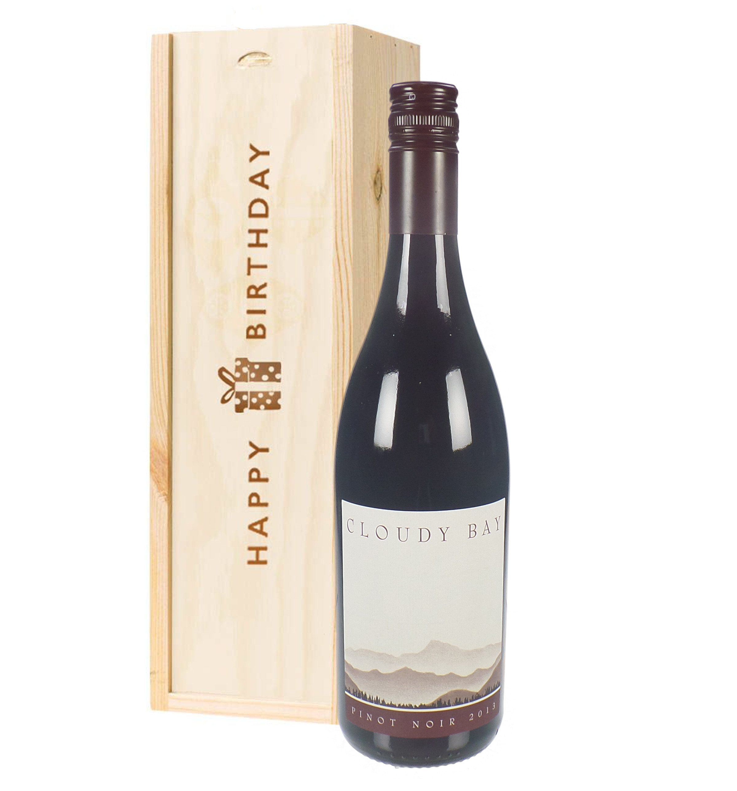 Cloudy Bay Pinot Noir Red Wine Birthday Gift In Wooden Box