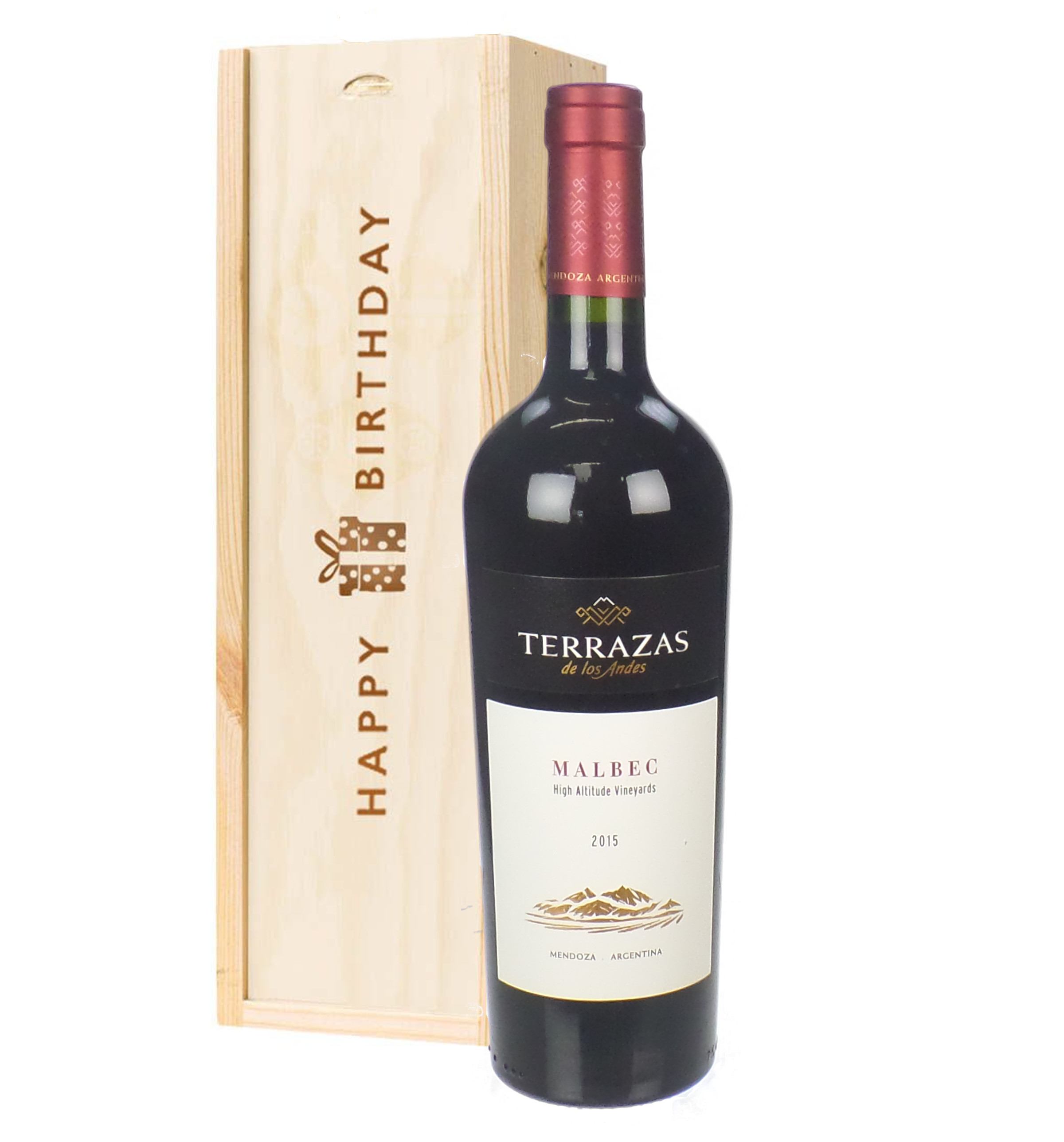 Terrazas Reserva Malbec Red Wine Birthday Gift In Wooden Box