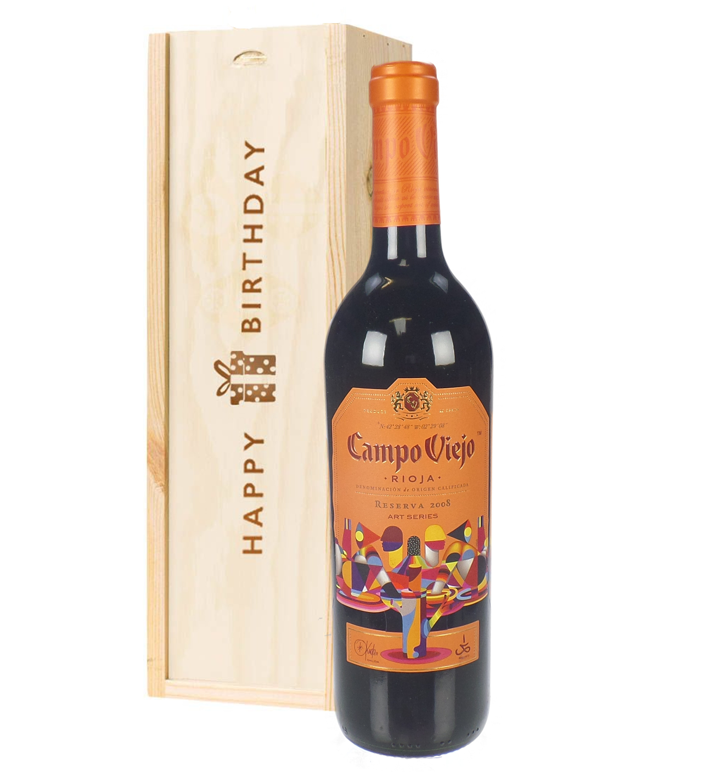 Campo Viejo Reserva Red Wine Birthday Gift In Wooden Box