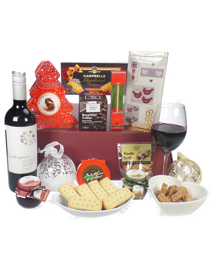 christmas wine and treats gift basket tap to expand