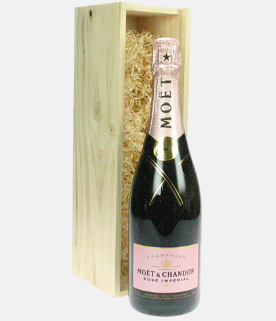 CLICK TO BUY NOW.  Product info: A single bottle of Moet NV Pink Champagne. This is presented in a luxury metal gift case. Personalize this gift by adding your own personal message.