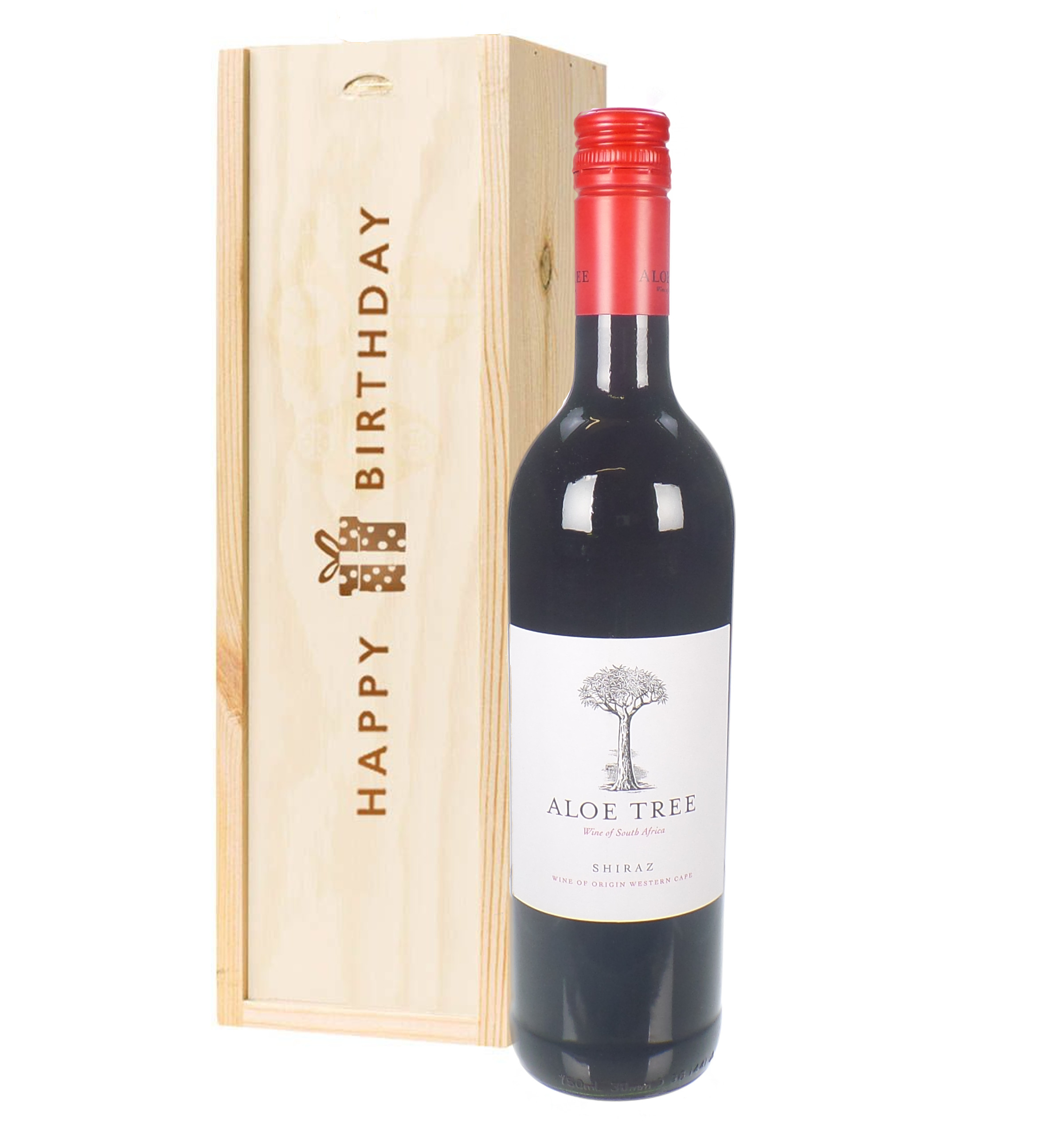South African Shiraz Red Wine Birthday Gift In Wooden Box