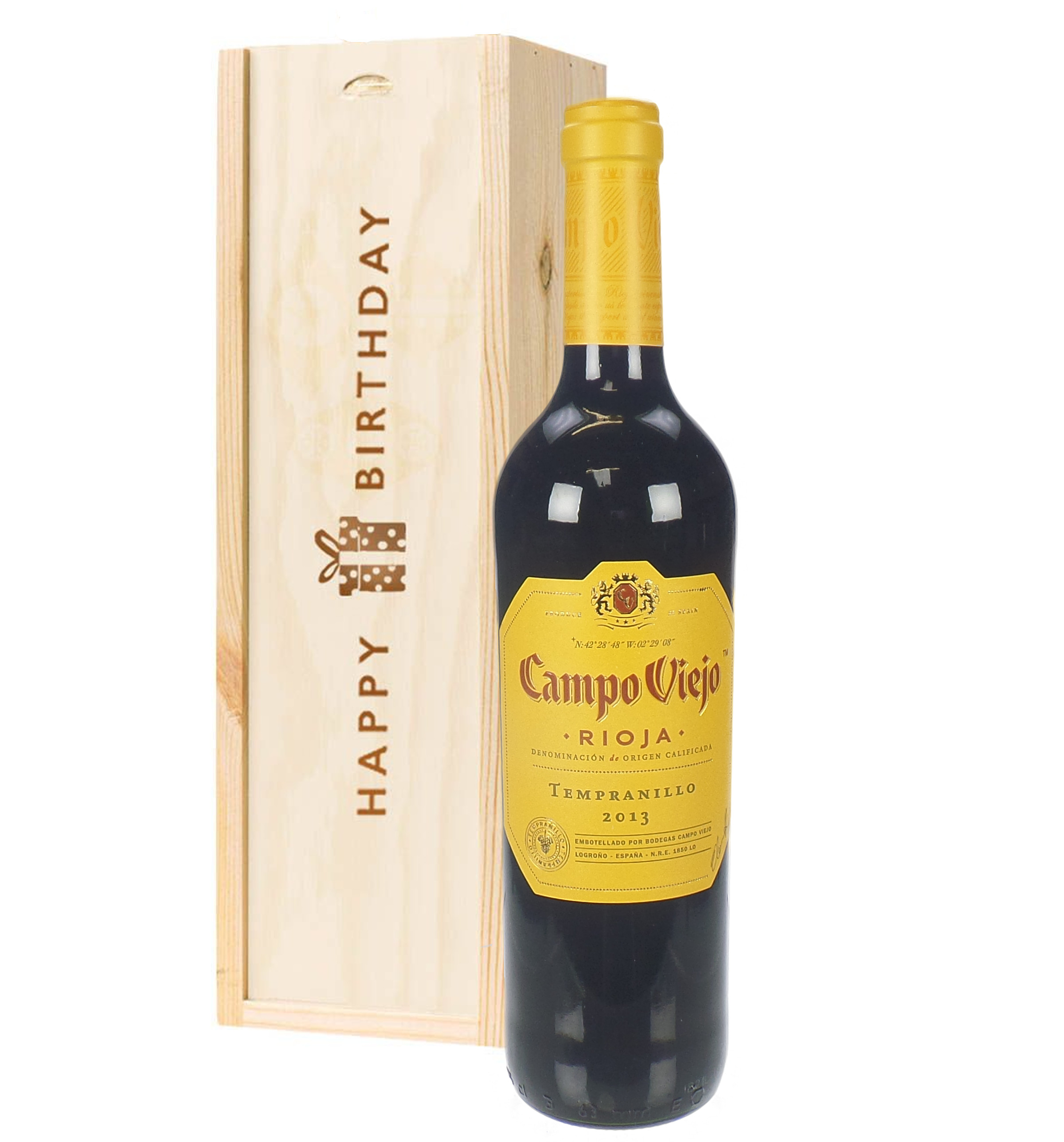 Rioja Tempranillo Red Wine Birthday Gift In Wooden Box