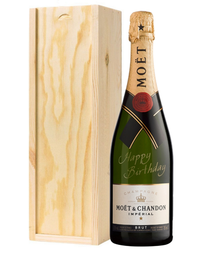 Moet Champagne Birthday Gift in Wooden Box (Happy Birthday Message)