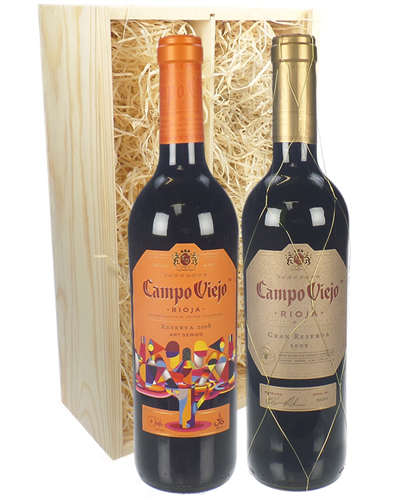 Rioja Reserva Two Bottle Wine Gift in Wooden Box