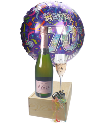 70TH BIRTHDAY ROSE CHAMPAGNE FLUTE GIFT