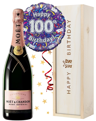 100th Birthday Pink Champagne and Balloon Gift