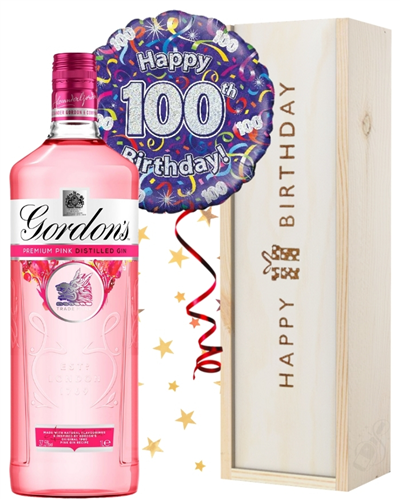 100th Birthday Pink Gin and Balloon Gift