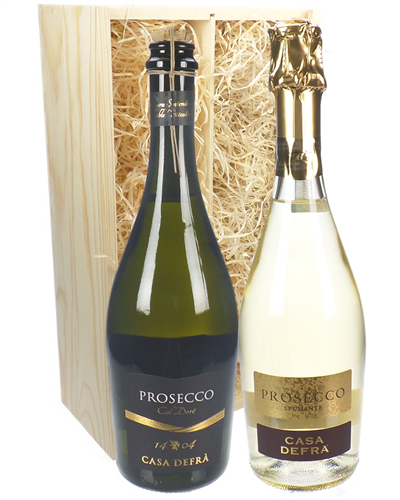 Prosecco Mixed Two Bottle Wine Gift in Wooden Box