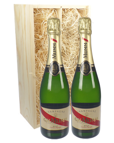 Mumm Two Bottle Champagne Gift in Wooden Box