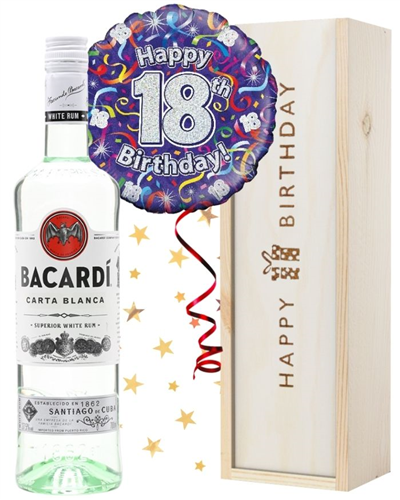 18th Birthday Bacardi Rum and Balloon Gift
