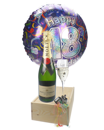 18th Birthday Gift  - Moet Champagne - Balloon - Flute