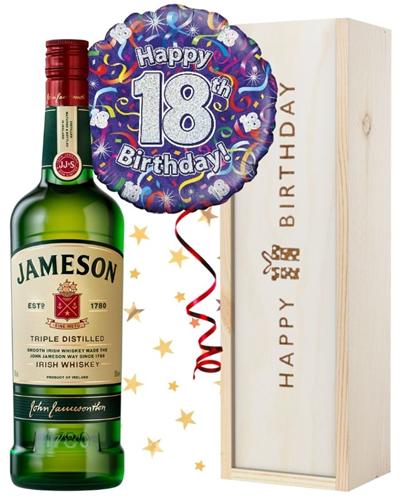 18th Birthday Irish Whiskey and Balloon Gift
