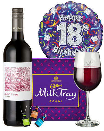 18th Birthday Wine Gift - Red Wine And Chocolates Gift Set