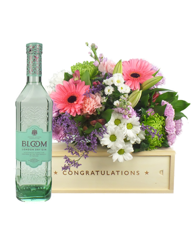 Gin And Flowers Congratulations Gift