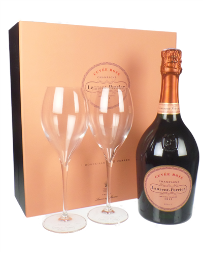 Laurent Perrier Rose Champagne Gift Set With Flute Glasses