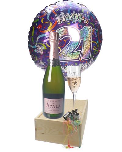 21st Birthday Rose Champagne Flute Gift